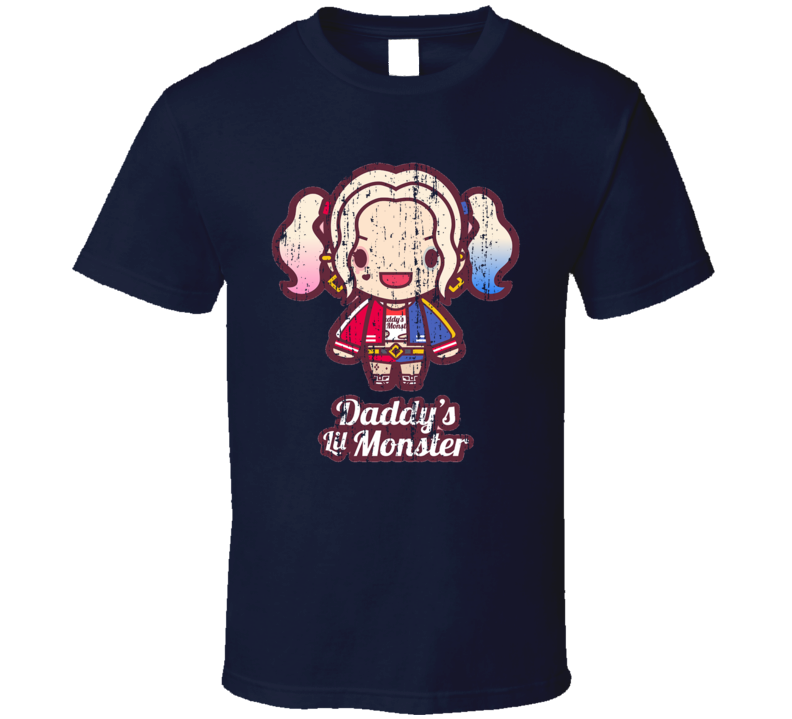 Daddys Little Monster Harley Quinn Worn Look Fathers Day Gift T Shirt