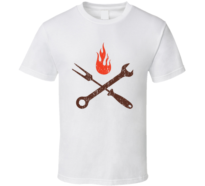 Pit Stop BBQ Cookhouse Grill Smoked Foodie Worn Look T Shirt