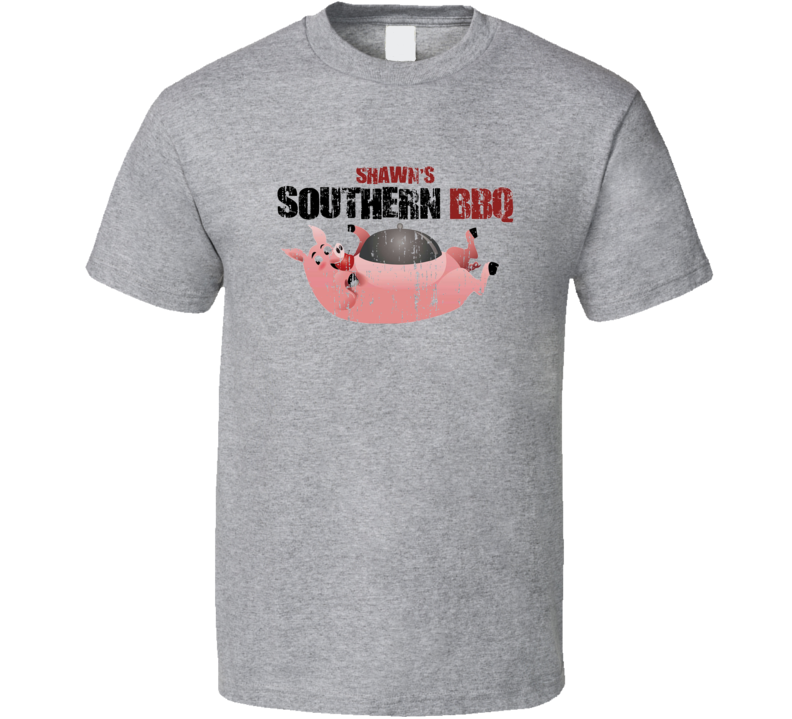 Shawn's Southern BBQ Cookhouse Grill Smoked Foodie Worn Look T Shirt