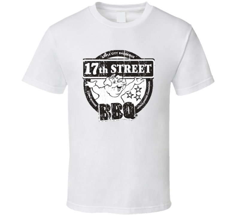17th Street BBQ Cookhouse Grill Smoked Foodie Worn Look T Shirt