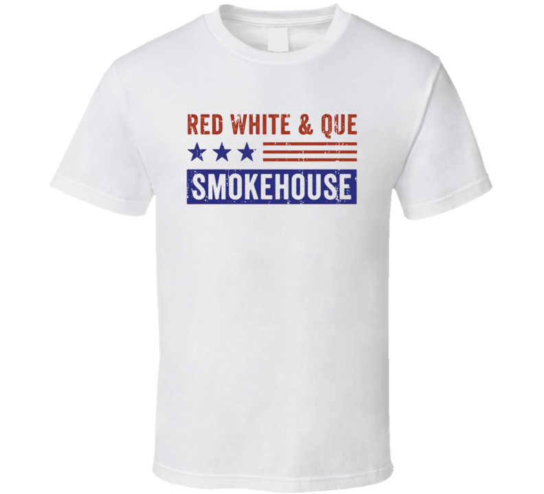 Red White & Que Smokehouse Cookhouse Smoked Foodie Worn Look T Shirt