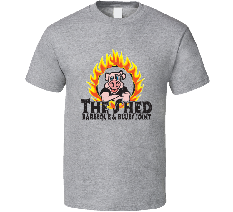 The Shed BBQ Cookhouse Grill Smoked Foodie Worn Look T Shirt