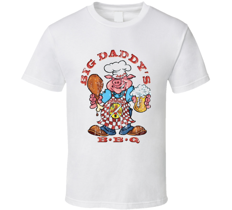 Big Daddy's BBQ Cookhouse Grill Smoked Foodie Worn Look T Shirt