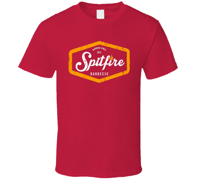 Spitfire Bar BBQ Cookhouse Grill Smoked Foodie Worn Look T Shirt