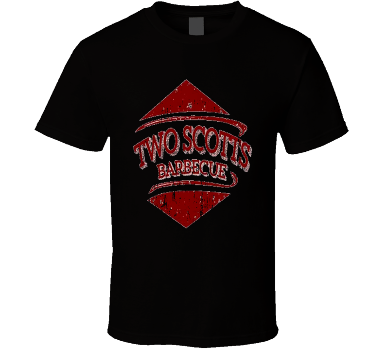Two Scott's BBQ Cookhouse Grill Smoked Foodie Worn Look T Shirt