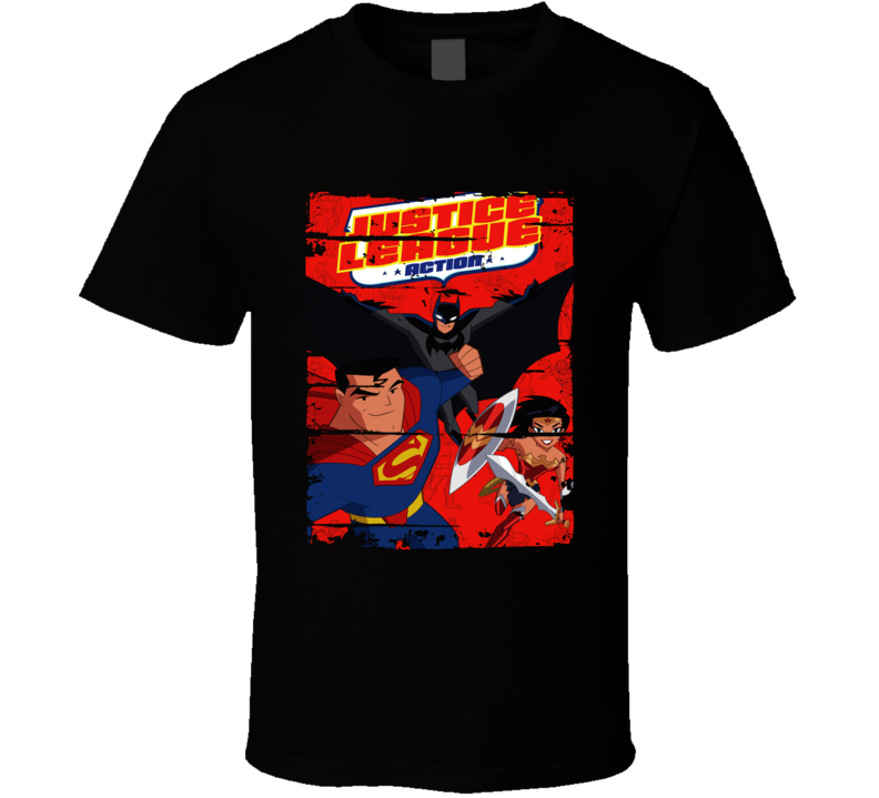 Justice Leagues Action Cartoon Worn Look Animated Tv Series T Shirt