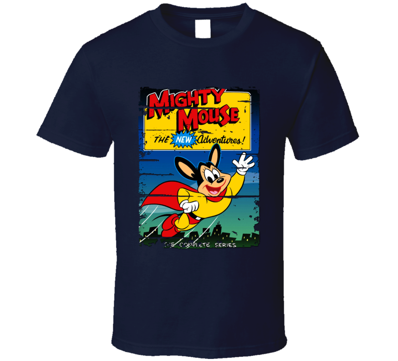 Mighty Mouse New Adventures Cartoon Worn Look Tv Show Cool T Shirt