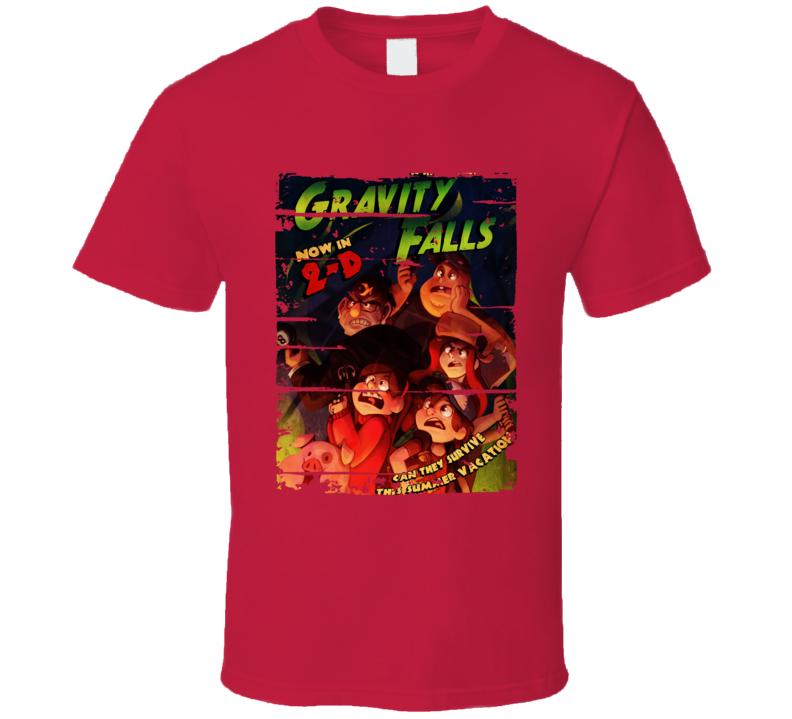 Gravity Falls Cartoon Worn Look Animated Tv Series T Shirt