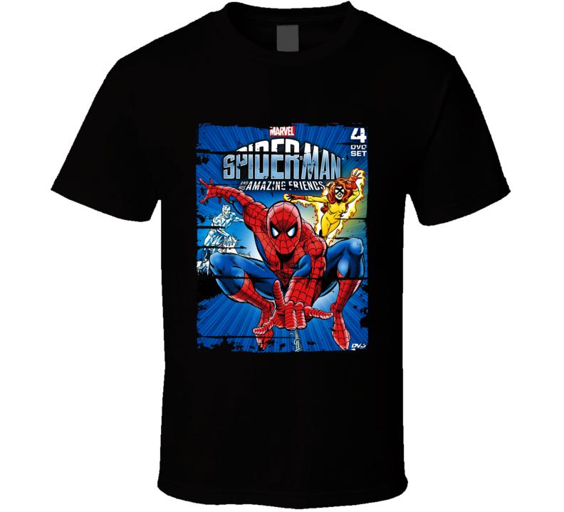 Spiderman And His Amazing Friends Cartoon Worn Look Tv Series T Shirt)
