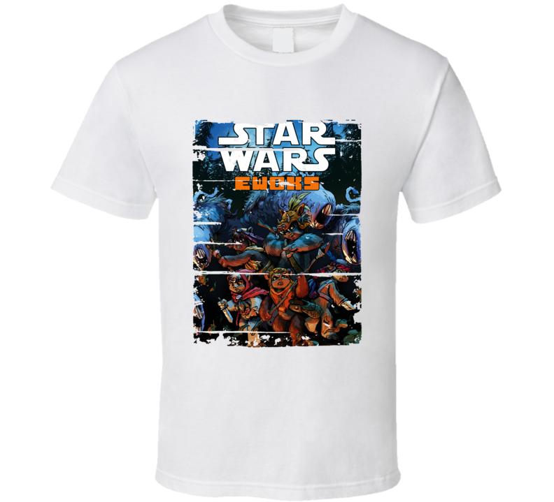 Star Wars Ewoks Cartoon Worn Look Tv Show Cool T Shirt