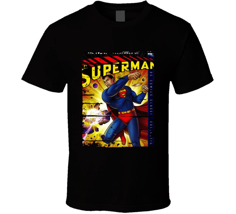 The New Adventures Of Superman Cartoon Worn Look Tv Series T Shirt