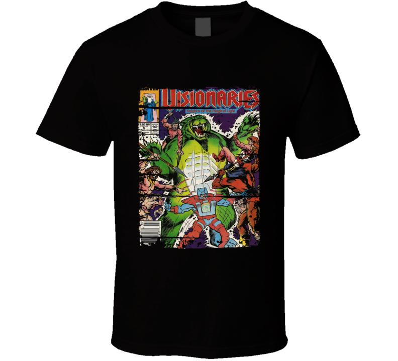 Visionaries Knights Of The Magical Light  Cartoon Worn Look T Shirt