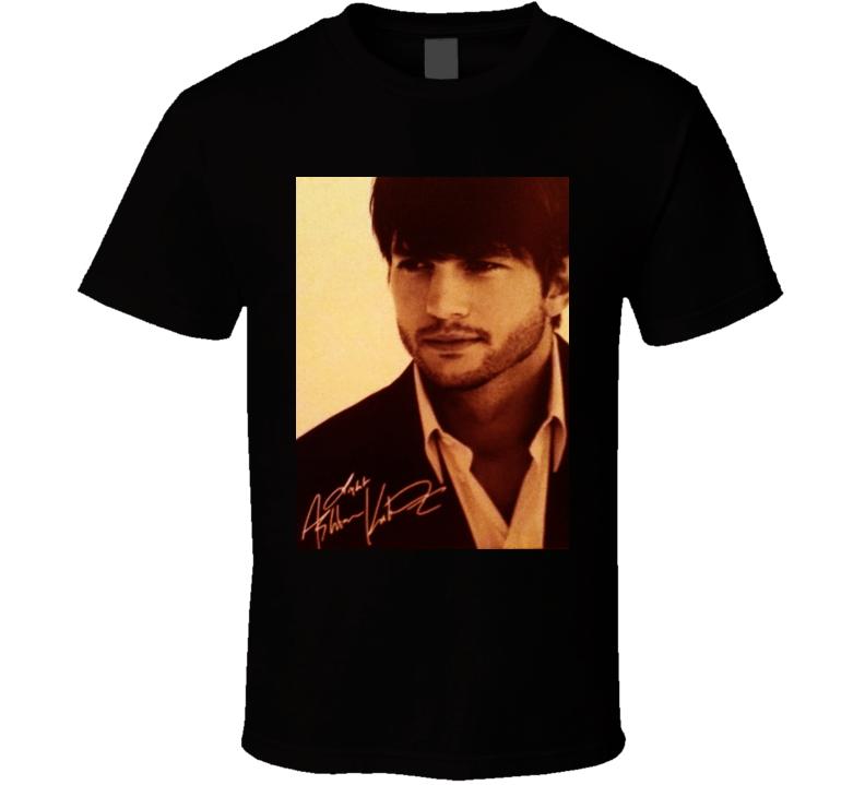 Ashton Kutcher Signature Trending Celebrity Autographed T Shirt