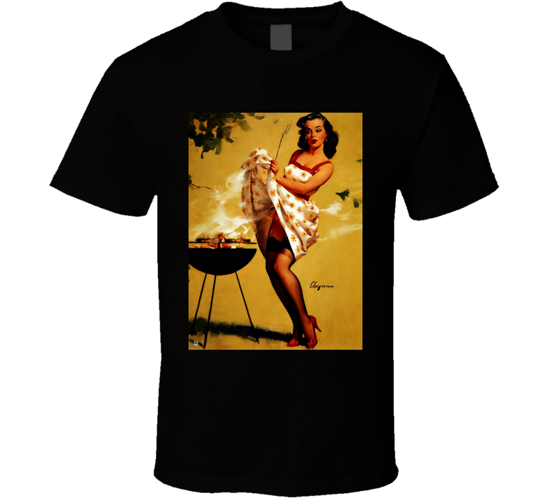 Classic Pin Up Girl Grill Master Sexy Art Cool T Shirt