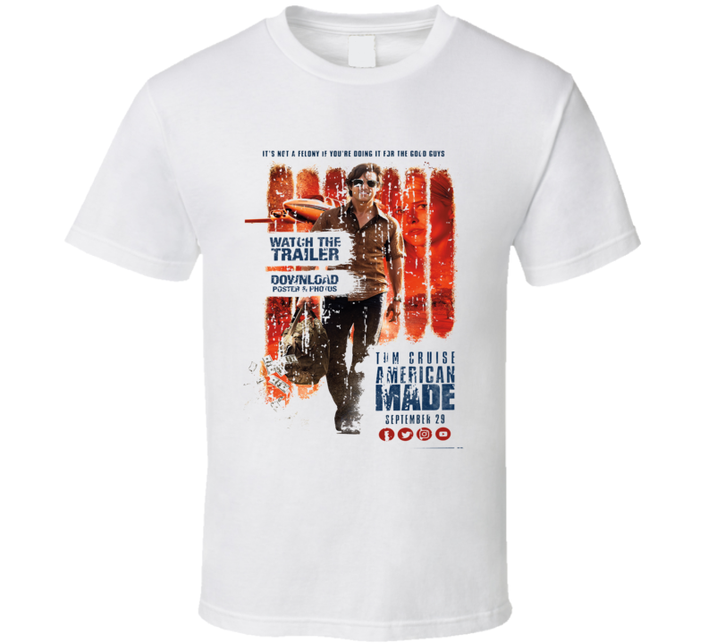 American Made Poster Cool Film Worn Look Movie Fan T Shirt