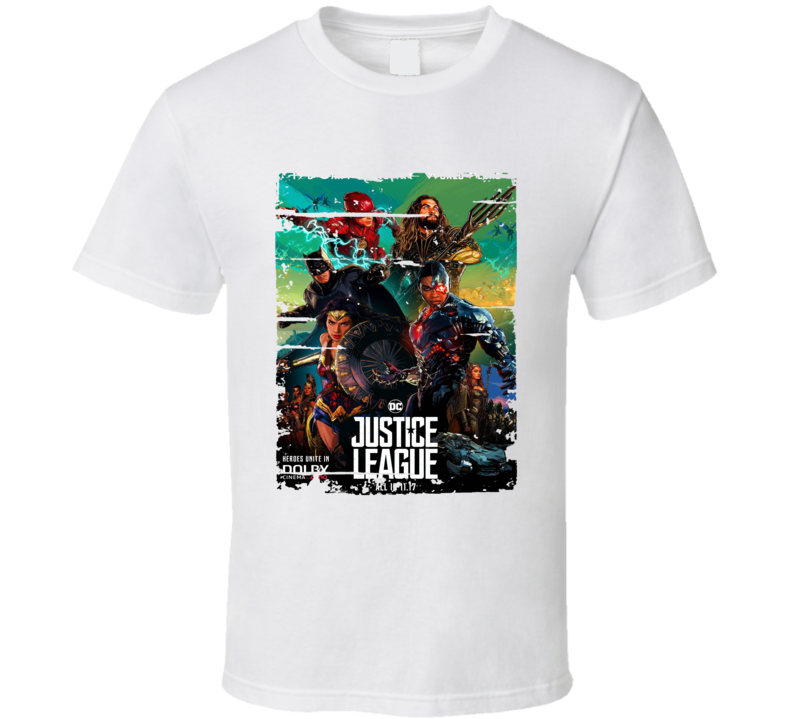 Justice League Poster Cool Film Worn Look Movie Fan T Shirt