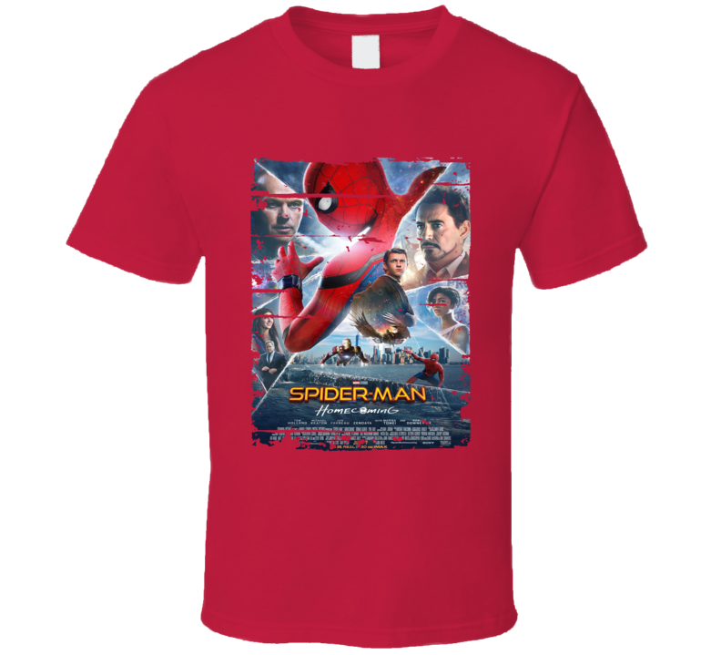 Spider-man Homecoming Poster Cool Film Worn Look Movie Fan T Shirt
