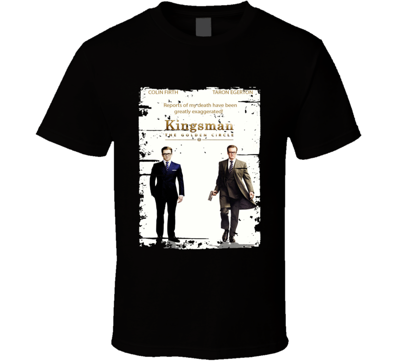 Kingsman The Golden Circle Poster Film Worn Look Movie Fan T Shirt
