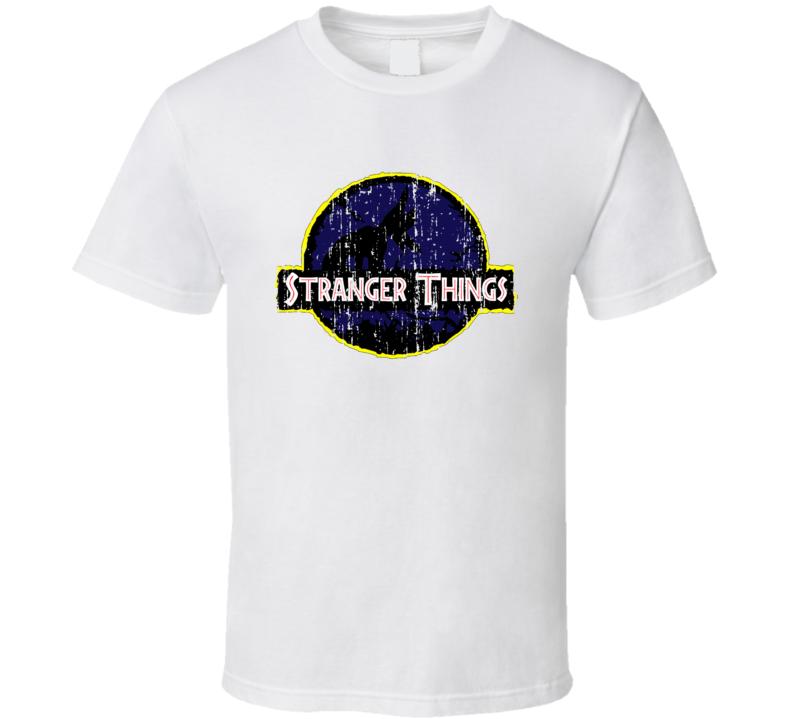 Stranger Things Jurrassic Parks Parody Trending Xmas Gift Worn Look T Shirt