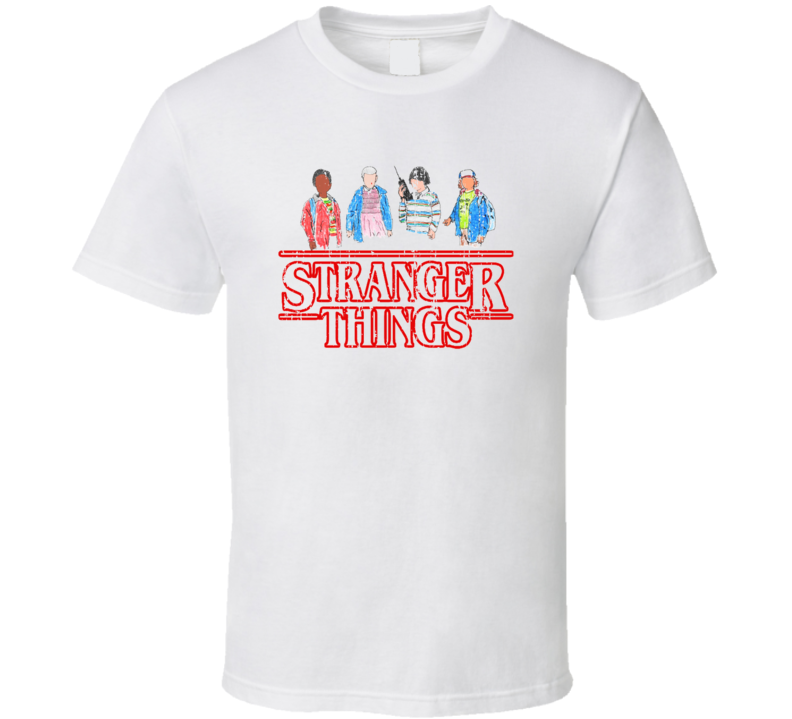 Stranger Things Tv Series Cartoon Characters X-mas Gift Worn Look T Shirt
