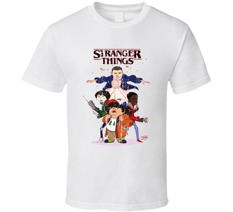 Stranger Things Tv Series Cartoon Characters Trending Worn Look T Shirt