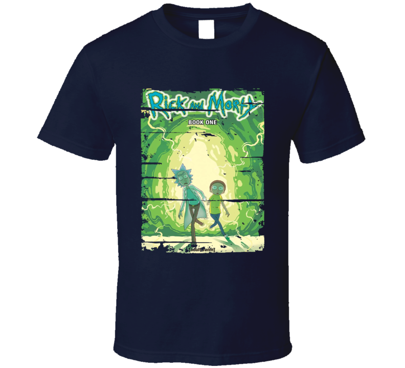 Rick And Morty Book 1 Cool Worn Look Cartoon T Shirt