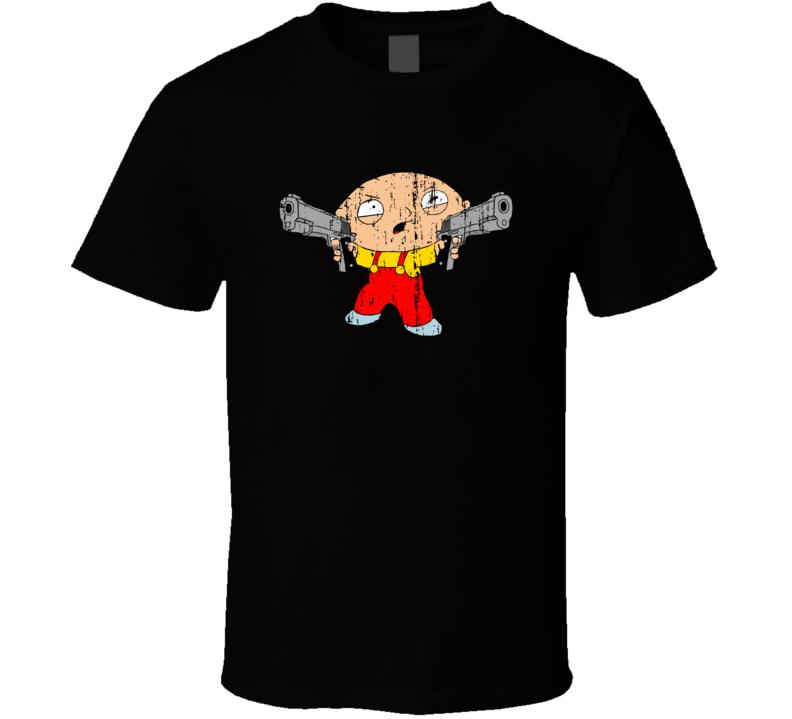 Stewie Holding Gun Family Guy Cartoon Character Worn Look Cool T Shirt