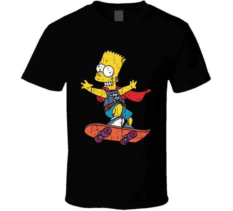 Bart Simpson Skateboarding Funny Cartoon Character Worn Look T Shirt