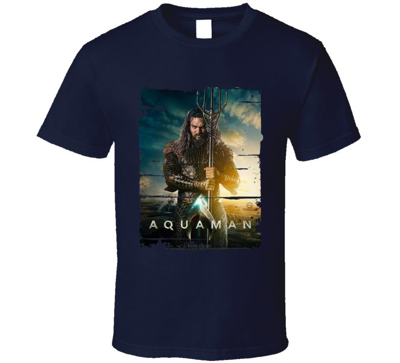 Aquaman 2018 Movie Poster Worn Look T Shirt