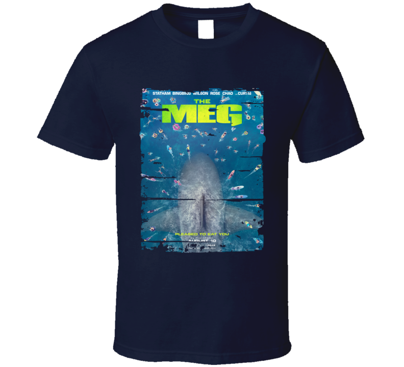 The Meg Jason Statham Movie 2018 Poster Worn Look T Shirt