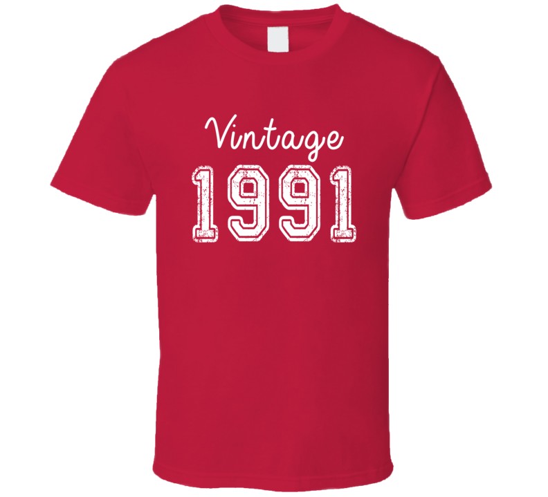 Vintage 1991 Cool Birthday Gift Retro Worn Look T Shirt