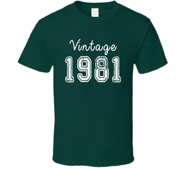 Vintage 1981 Cool Birthday Gift Retro Worn Look T Shirt