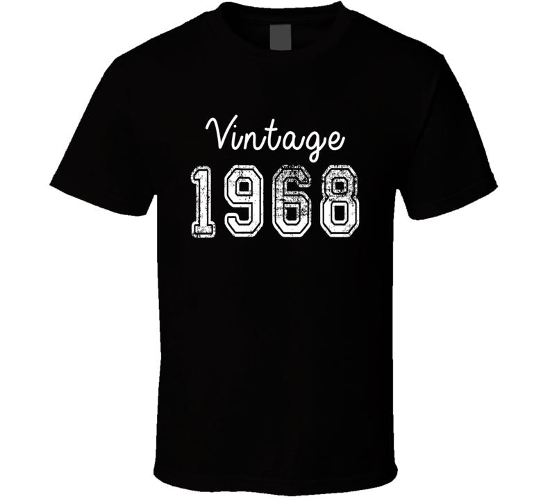 Vintage 1968 Cool Birthday Gift Retro Worn Look T Shirt