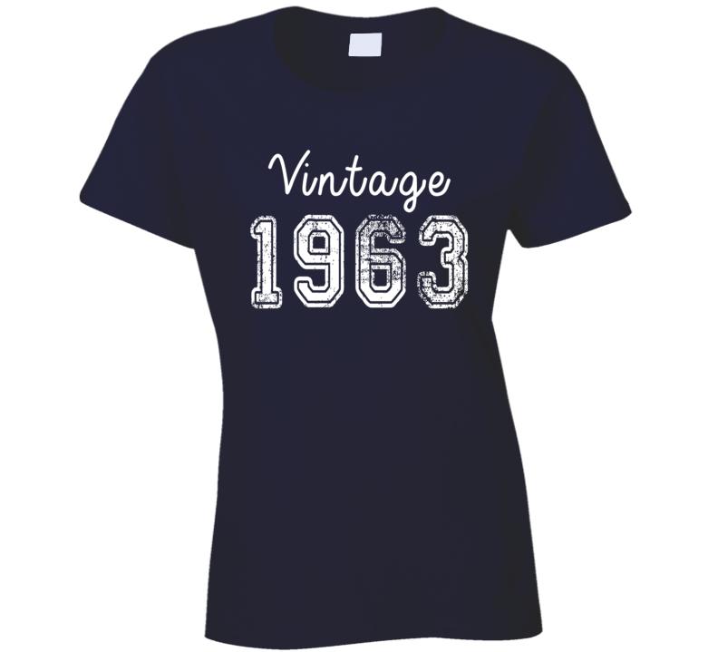 Vintage 1963 Cool Birthday Gift Retro Worn Look T Shirt