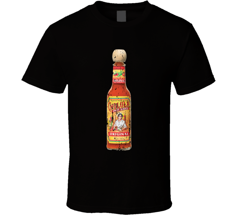 Cholula Hot Sauce Bottle Worn Look Spicy Food Lover T Shirt
