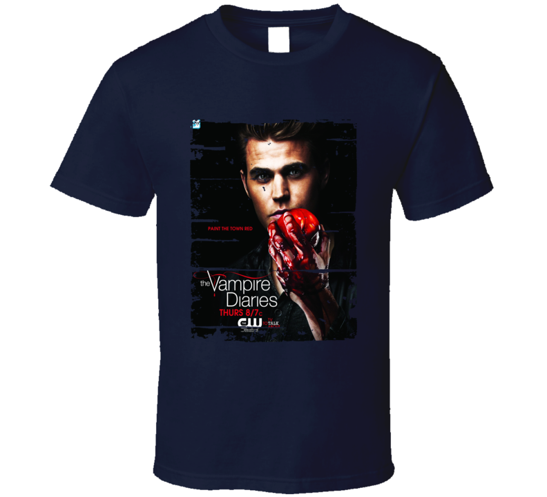 Stefan Salvatore Vampire Diaries Tv Show Worn Look Drama Series T Shirt