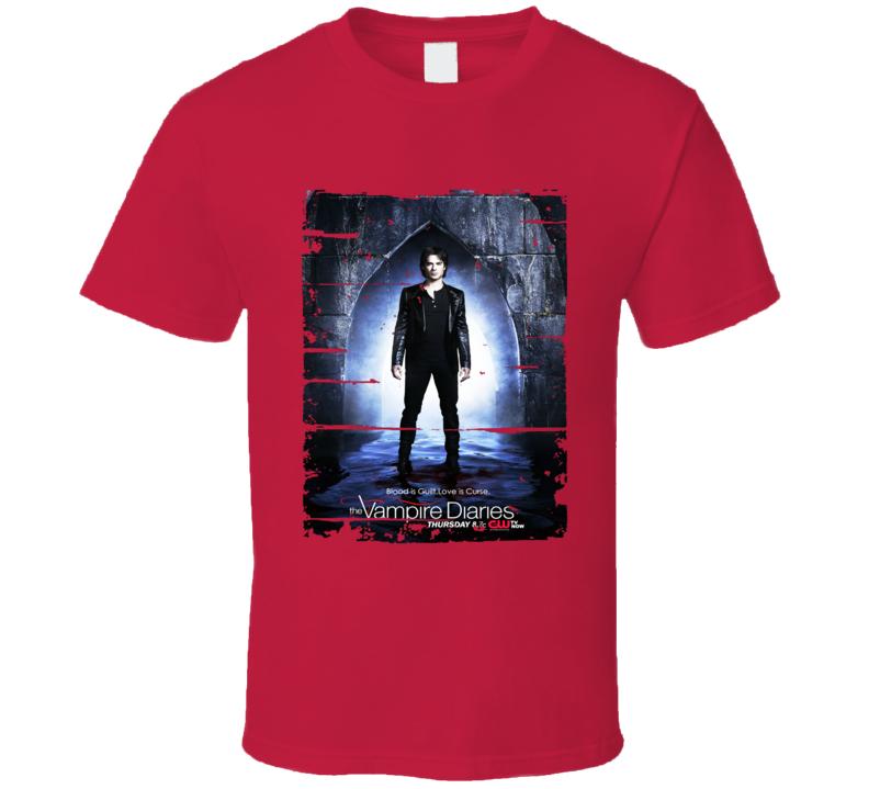 Damon Salvatore Vampire Diaries Tv Show Worn Look Drama Series T Shirt