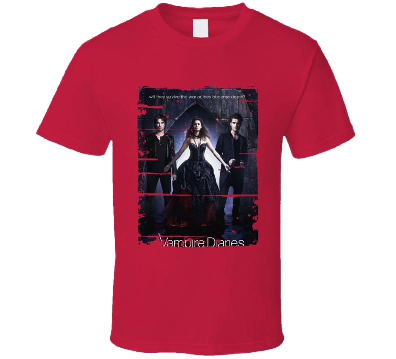 The Vampire Diaries Season 1 Tv Show Worn Look Drama Series T Shirt