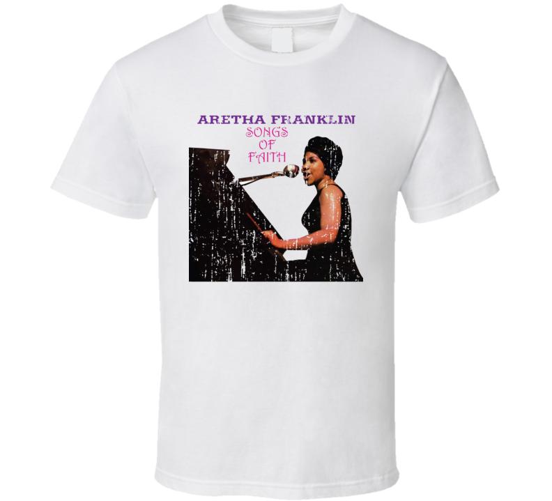 Aretha Franklin Songs Of Faith Memorial Worn Look Cool Music T Shirt