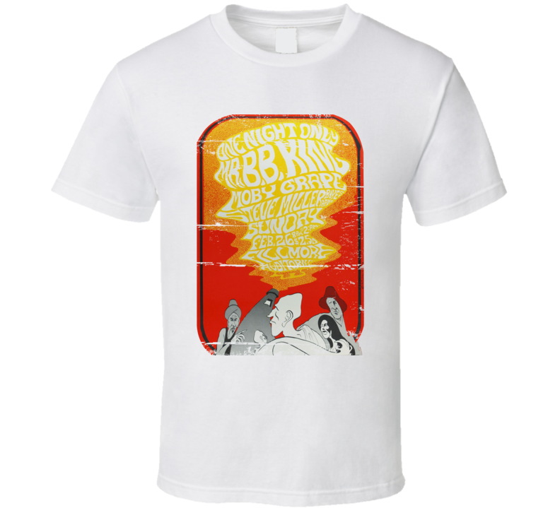 B.B. King Grape Miller 1967 Fillmore Concert Poster Aged Look T Shirt