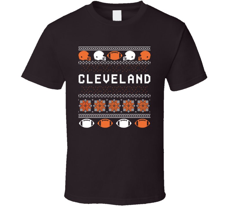 Cleveland Football Ugly Christmas Sweater 8bit Pixel Art Fan T Shirt
