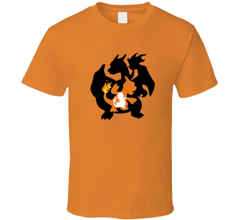 Charmander Charmeleon Charizard Pokemon Graphic T-Shirt Men's Style