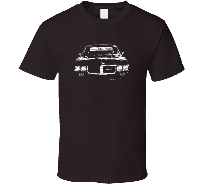 1967 Pontiac Firebird Grill View Distressed Chocolate T Shirt