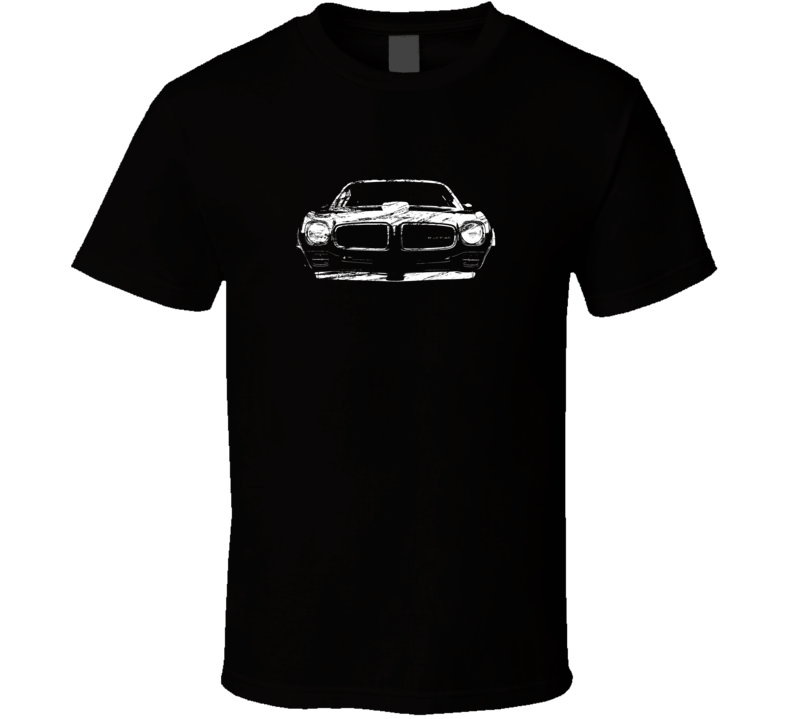 1970 1971 1972 1973 Pontiac Firebird Grill View Distressed Black T Shirt