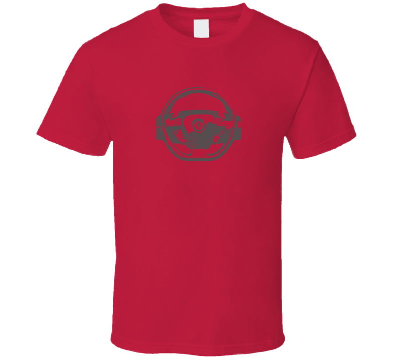 Faded Distressed Look Ferrari Steering Wheel Red T Shirt