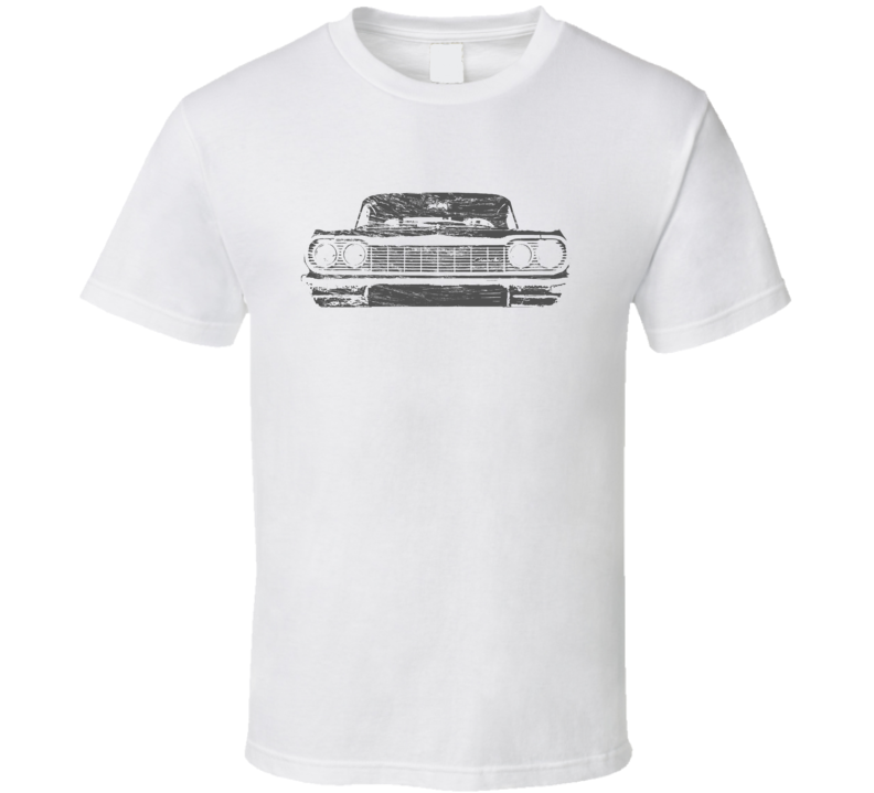 1964 Impala SS Distressed Faded Look White T Shirt