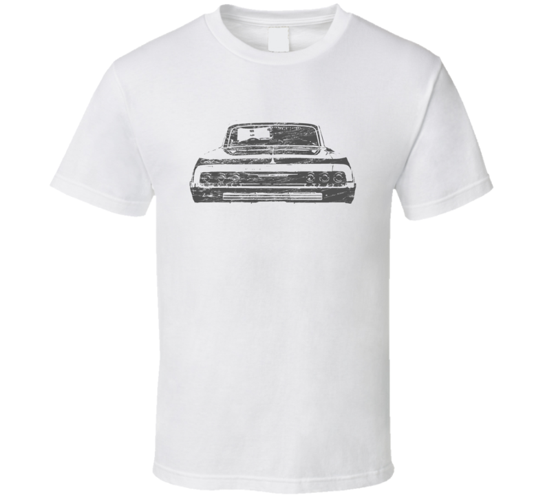 1964 Impala Rear View Distressed Faded Look White T Shirt