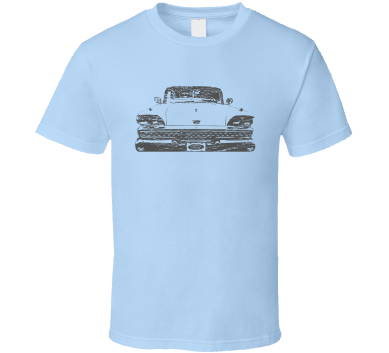 1959 Fairlane Grill View Distressed Faded Black Graphic T Shirt