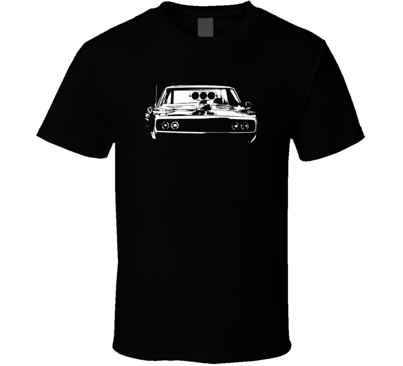 Fast and Furious 1969 Dodge Charger Grill View Faded Look Dark T Shirt