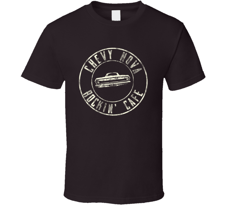 Chevy Nova Rockin' Cafe Rear View Distressed Faded Dark T Shirt